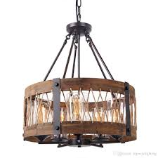 Iron And Wood Chandelier Wooden Chandelier With Clear Glass Shade Edison Wood Island