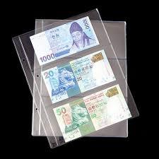 new 10pcs lot 3pieces sheet pvc paper money album transparent