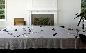 linen tablecloth by huddleson traditional dining room