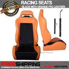 Comfortable Racing Seats Universal Reclinable Comfortable Racing Seats Orange Pvc Black