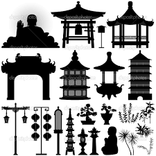 Chinese Design by Pagoda Silhouette Chinese Asian Temple Shrine Relic Stock