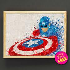 Captain America Decor Avengers Captain America Watercolor Art From Star2go On Etsy