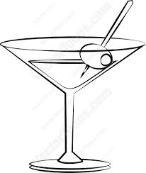 retro martini clip art hand drawn sketch cocktail martini vintage isolated object vector