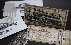 train ticket wedding invitation good letter press