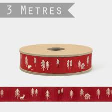 east of india red and white forest christmas ribbon 3m reel craft