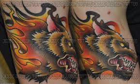 new traditional flaming wolf tattoo artists org