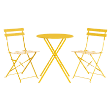 Metal Folding Bistro Chairs Parc 2 Seat Yellow Metal Folding Bistro Table And Chairs Set Buy