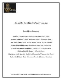 cocktail party sample menu u2014 mezetto