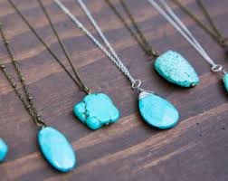 silver turquoise necklace images Long turquoise necklace etsy jpg