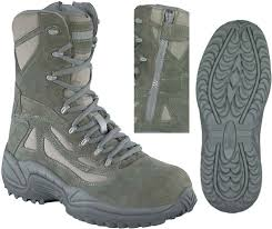 reebok sage stealth 8 in safety toe boots with side zipper mens