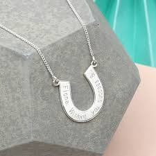 personalized horseshoe set personalised sterling silver lucky horseshoe necklace by