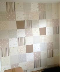 diy patchwork wallpaper in neutral colors for a baby u0027s nursery