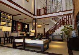 Chinese Living Room Chinese Villa Interior Living Room Staircase 3d House