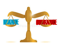 Inhouse Inhouse And Outsource Balance Illustration Design Stock