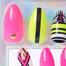 neon aztec stiletto faux nails claire u0027s