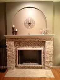 fascinating stacked marble stone fireplace mantel with glass tiles