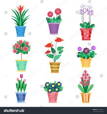 Office Plants by Set Houseplant Home Interior Flowers Office Stock Vector 411757282