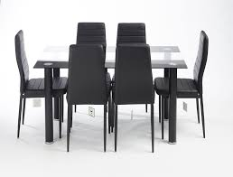 glass designed black stripe contemporary dining table set with 6