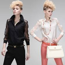 Black Blouse With White Collar Compare Prices On Sheer Silk Blouse Online Shopping Buy Low Price