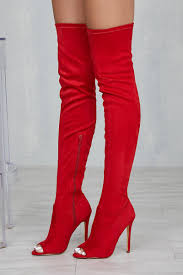 thigh high peep toe boot red