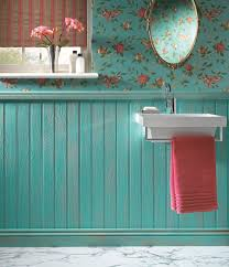 Bathroom With Wainscoting Ideas Tongue U0026 Groove Turquoise Wainscoting With Floral Wallpaper