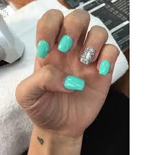 tiffany blue and silver nails done at starlit nails solar powder