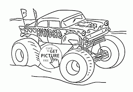 monster truck avenger coloring page for kids transportation