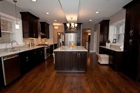 Wood Floors In Kitchen Espresso Kitchen Cabinets With Wood Floors