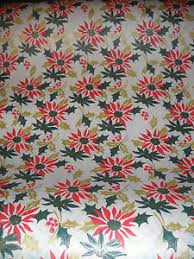 vintage christmas wrapping paper vintage christmas wrapping paper gift wrap poinsettias 1940s 2 yards