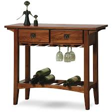 amazon com leick mission wine table with storage drawers russet