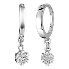 dangling diamond earrings dangling hoop diamond earrings on 10k white gold jeenjewels