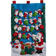 mittens and advent calendar felt applique kit stitch
