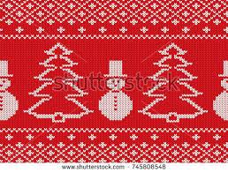 knit christmas knit christmas design snowmen christmas trees stock vector 745808548