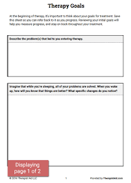 Counseling Treatment Plan Goals Therapy Goals Worksheet Therapist Aid