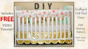 reversible scalloped crib rail cover pdf sewing pattern with