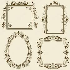 set of vintage frames with floral ornament stock vector