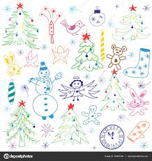 colorful hand drawn cute christmas sketch set children drawings