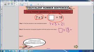 Inverse Operation Worksheets Equivalent Number Sentences Youtube