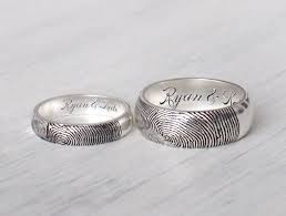 couples ring sets set of 2 actual fingerprint rings personalized rings