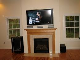 stratford ct home theater installation and tv over fireplace
