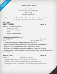 College Admissions Resume Samples by A Resume Sample For College Student Business Proposal Templated
