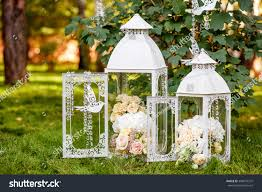 wedding decor rustic style white vintage stock photo 384673372