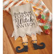 mud pie mh6 holiday halloween kitchen linen witch switch legs tea