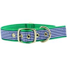 gingham ribbon country club prep dog collar in navy gingham ribbon on green