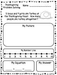 thanksgiving addition subtraction word problems kindergarten