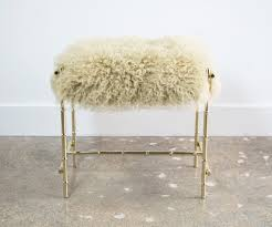 Vanity Chairs And Stools Mid Century Brass And Sheepskin Faux Bamboo Vanity Stool Sold