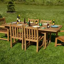Patio Table Wood Extra Long Rectangular Expandable Teak Outdoor Table With Hideaway