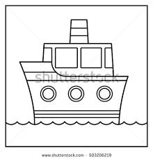 outline cartoon ship design cruising stock vector 493446388