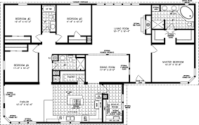 house plans one four bedroom mobile homes l 4 bedroom floor plans