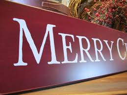 merry sign large burgundy wood wall decor